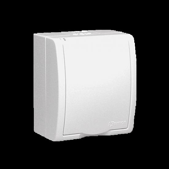 AQGZ1/11 Jedno zásuvka s uzemnením krytie IP 54 - krycia klapka v bielej farbe biela 16A
