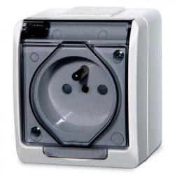 5321-01  Biela zásuvka na povrch s transparentnou krytkou, 250 V, 16 A, IP 44
