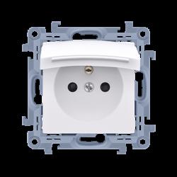 1-zásuvka CGZ1B.01/11 s krytím IP44 - tesnenie - klapka vo farbe krytu biela 16A