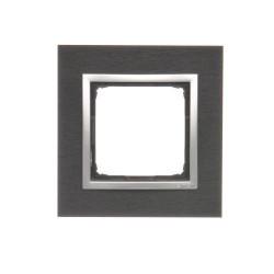 DRN1/78  Rámček 1 - násobný kovový Tmavý nerez/striebro