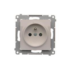 DGZ1CZ.01/11  Jedno zásuvka s uzemnením s clonkami pre rámčeky Nature  a pre rámčeky Premium (prístroj s krytom) 16A 250V, pružinové svorky, biela