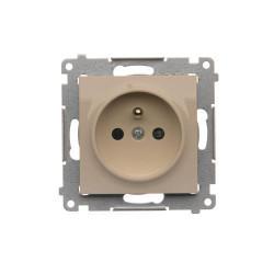 DGZ1CZ.01/41  Jedno zásuvka s uzemnením s clonkami pre rámčeky Nature pre rámčeky Premium (prístroj s krytom) 16A 250V, pružinové svorky, krémová