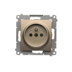DGZ1CZ.01/44  Jedno zásuvka s uzemnením s clonkami pre rámčeky Nature pre rámčeky Premium (prístroj s krytom) 16A 250V, pružinové svorky, zlatá matná