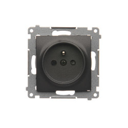 DGZ1CZ.01/48  Jedno zásuvka s uzemnením s clonkami pre rámčeky Nature pre rámčeky Premium (prístroj s krytom) 16A 250V, pružinové svorky, antracitová