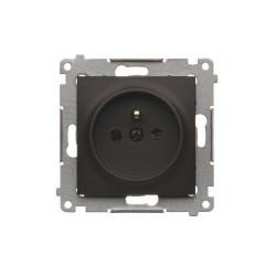 DGZ1CZ.01/46  Jedno zásuvka s uzemnením s clonkami pre rámčeky Nature pre rámčeky Premium (prístroj s krytom) 16A 250V, pružinové svorky, hnedá matná