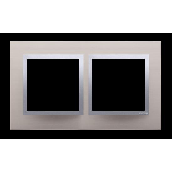 DRN2/79  Rámček 2- násobný kovový Saténová/striebro